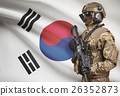 Soldier with flag on background - South Korea 26352873