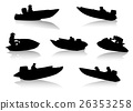 Silhouettes of people on motor boats 26353258