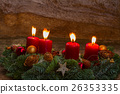 advent wreath with burning candles 26353335