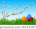 Easter eggs in grass. 26353387