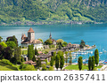 Spiez castle with yacht on lake in Switzerland 26357411