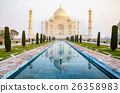 The Taj Mahal is an ivory-white marble mausoleum  26358983