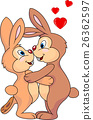 Rabbit couple kissing 26362597