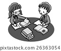 書_學習研究_兩個人_單色_制服 26363054