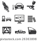 automotive icons, car parts and garage icons 26363898