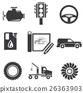 automotive icons, car parts and garage icons 26363903