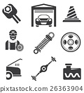 automotive icons, car parts and garage icons 26363904