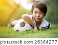 Little asian boy with football at the park 26364277