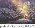 Santa Claus in snowy winter alley 26364925