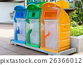 Three recycle containers for glass, plastic ,other 26366012