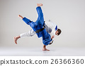 The two judokas fighters fighting men 26366360