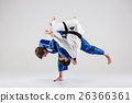 The two judokas fighters fighting men 26366361