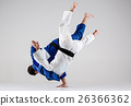 The two judokas fighters fighting men 26366362