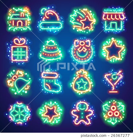 Christmas Neon Icons with Magic Sparkles 26367277