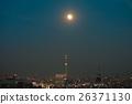 보름달에 비추어지는 도쿄의 거리 풍경 26371130