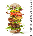 burger with flying ingredients 26371524