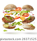burger with flying ingredients 26371525