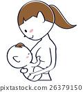 Cute ponytail mother breastfeeding 26379150