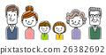 6 인 가족 : 부모와 자녀 두 명과 조부모의 3 세대 26382692