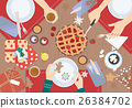 Christmas Dinner on wood table Vector Design. 26384702