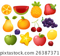 Collection Set of glossy cartoon fruit icon 26387371