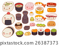Collection of lovely  japanese food doodle icon 26387373