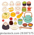 Collection of lovely  japanese food doodle icon 26387375