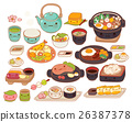 Collection of lovely  japanese food doodle icon 26387378