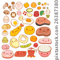 Collection of lovely  japanese food doodle icon 26387380