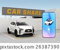카 쉐어링 전용 주차장과 스마트 폰 앱 이미지. 26387390