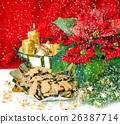 Advent decoration with burning golden candles 26387714