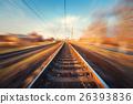 Railroad in motion. Blurred railway station 26393836
