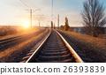 Railroad in motion. Blurred railway station 26393839