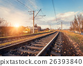 Railway station at sunset. Industrial landscape 26393840