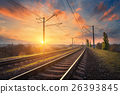 Railway station at sunset. Industrial landscape 26393845
