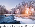 Christmas. River in snowy forest. Winter landscape 26393851