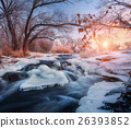 Christmas. River in snowy forest. Winter landscape 26393852