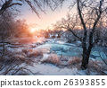 Christmas. River in snowy forest. Winter landscape 26393855