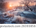 Christmas. River in snowy forest. Winter landscape 26393856