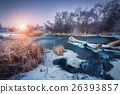 Christmas. River in snowy forest. Winter landscape 26393857