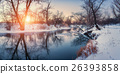 Christmas. River in snowy forest. Winter landscape 26393858