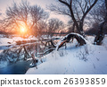 Christmas. River in snowy forest. Winter landscape 26393859