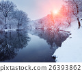 Christmas. River in snowy forest. Winter landscape 26393862