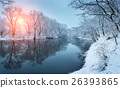 Christmas. River in snowy forest. Winter landscape 26393865