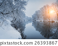 Christmas. River in snowy forest. Winter landscape 26393867