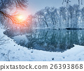 Christmas. River in snowy forest. Winter landscape 26393868