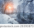 Christmas. River in snowy forest. Winter landscape 26393873