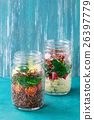 Salads with quinoa in jars 26397779