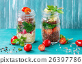 Salads with quinoa in jars 26397786
