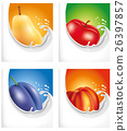 milk splash with pear, peach, plum, apple 26397857